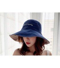 sombrero de sol para mujer de doble cara al aire libre azul
