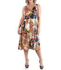 24seven comfort apparel women's plus size paisley midi dress