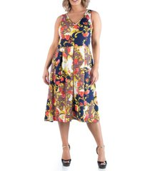 24seven comfort apparel women's plus size paisley midi dress