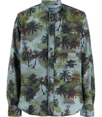 hand picked tropical print shirt - blue