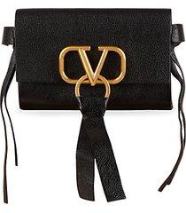 v-logo pebbled leather waist bag