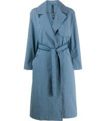 sara lanzi long sleeve belted trench coat - blue