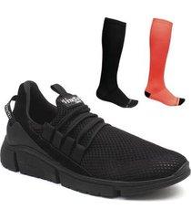 kit tênis casual masculino + 2 pares meias compressão macia