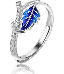 anello aperto regolabile cloisonné etnico anello unico con anelli a forma di ramoscello di foglia placcati in platino blu per le donne