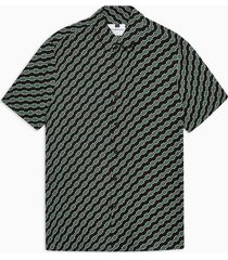 mens black and green geometric print slim shirt