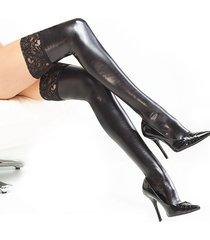 calze sexy da donna in pelle verniciata con pizzo calze adulto attillato calze