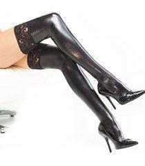 calzini aderenti caldi del tubo di cuoio del brevetto del merletto delle calze delle donne sexy