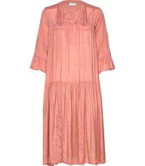kathea 3/4s dress knälång klänning rosa kaffe