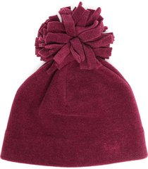 il gufo pom-pom fleece beanie - red