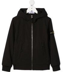 stone island junior black hoodie with logo patch