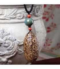 collana etnica fatta a mano bodhi collana lunga maglione in pietra per donna uomo