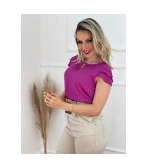 blusa manga curta camadas magenta