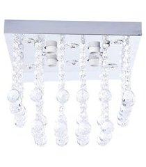 lustre de cristal diamante iluminação 1566/300 bivolt 184w prata