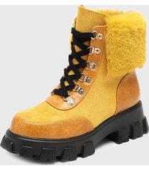 botín cuero amarillo maria pia