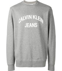 calvin klein jeans logo print sweatshirt - grey