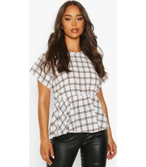 flannel peplum detail blouse, ivory