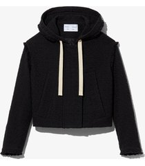 proenza schouler white label bouclé tweed hooded jacket black s