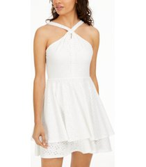 sequin hearts juniors' twisted eyelet dress