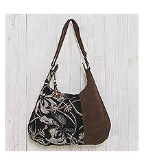 cotton hobo bag, 'blossoming chocolate' (thailand)