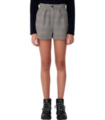 women's maje houndstooth check shorts, size 8 us - black