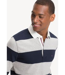 buzo azul tommy hilfiger iconic block stripe rugby