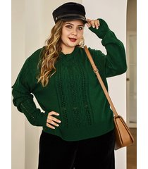 plus size green hollow design long sleeves sweater