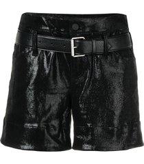 rta high-waisted vinyl coated shorts - black