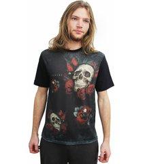 camiseta alkary caveira preta