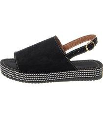 sandália sacolei flatform corda camurça preto - kanui