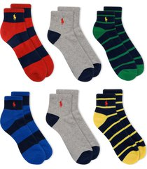 men's polo ralph lauren assorted 6-pack stripe ankle athletic socks, size one size - none