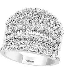 14k white gold diamond shield ring