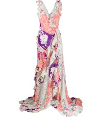 etro silk patchwork print dress - pink