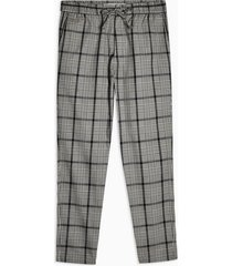 mens grey and burgundy check stretch skinny pants