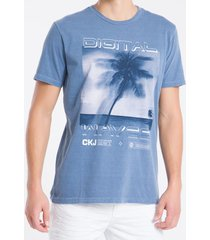 camiseta mc regular silk meia pig gc - azul médio - pp