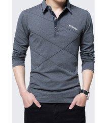 camicia da polo in cotone casual manica lunga con collo a maniche lunghe foderato in pile da uomo