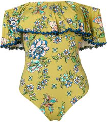 anjuna off the shoulder floral swimsuit - green