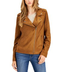 style & co petite faux-suede moto jacket, created for macy's