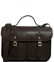 bolsa line store leather satchel pockets pequena couro marrom escuro.