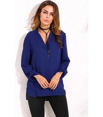 donna casual camicia con collo v a maniche regolabile con spacco laterale