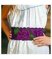 cotton tie belt, 'field of flowers' (mexico)