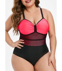 colorblock fishnet panel plus size one-piece swimsuit