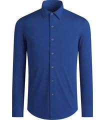men's bugatchi ooohcotton tech solid knit button-up shirt, size xx-large - blue