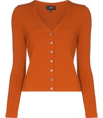 3x1 v-neck ribbed cardigan - orange