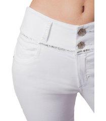pantalon adrissa skinny blanco pretina ancha con recubrimiento metalizado