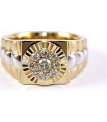 0.35 tcw round diamond 14k two tone gold over men's engagement cluster  ring