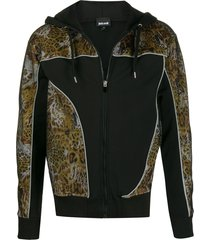 just cavalli zipped leopard print detailed hoodie - black