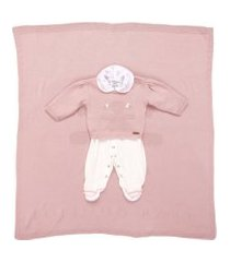 saída de maternidade fofinho macacáo e manta tricô rosa