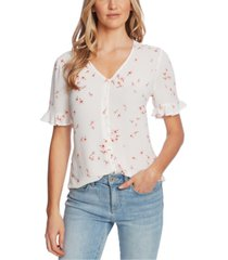 cece cascading florets ruffled sleeve top