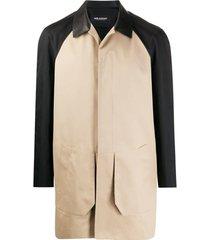 neil barrett casaco de gabardine bicolor - neutro