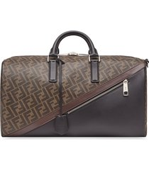 fendi monogram-print duffle bag - brown